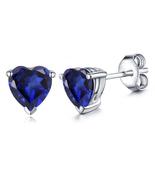Women's Stud Earrings Heart Shape Blue Sapphire 14k White Gold Plated 92... - $35.14