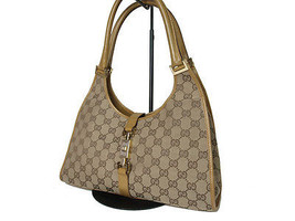 Auth GUCCI GG Pattern JACKIE Canvas Leather Brown Shoulder Bag GS11291L - $159.00