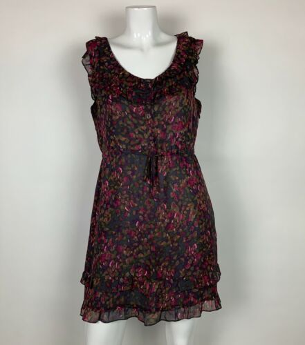J Crew Dress Silk Floral Sleeveless Multicolor Ruffled Career Casual Sz 6