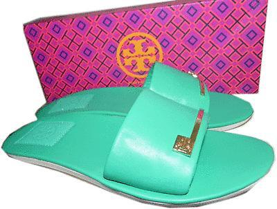 Tory Burch Green Leather Saleene Slip On Slide Logo Sandal Flat Shoes  38- 8 New