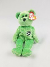 Vtg 1999 TY Beanie Baby Kicks Soccer Bear green retired - $9.90