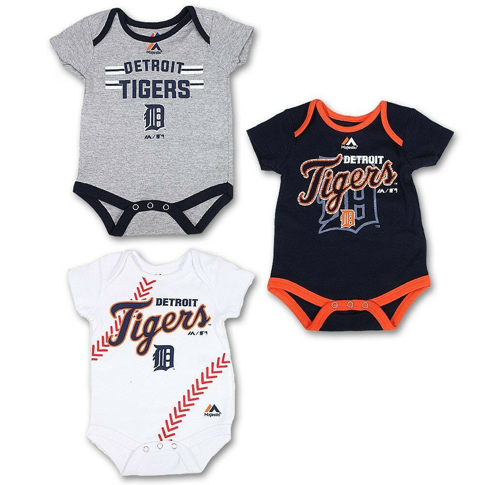 Detroit Tigers Infant Three Strikes MLB Bodysuit 3-piece Set Baby Creeper Tee