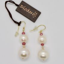 Yellow Gold Earrings 18k 750 Freshwater Pearls Pink Tourmaline Made in Italy image 3