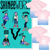 KPOP SHINee WORLD Tour T-shirt Unisex TAEMIN Gradient Tshirt MINHO Cotto... - $12.07