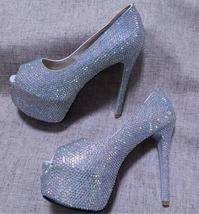 """AB crystal Brides Shoes Open toe high Heels iridescent stones wedding Shoes 5.5"""" - $135.00"""