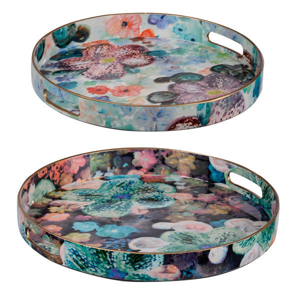 Modern Chic Blue Multi-Color Trays Set Of 2 - 44052