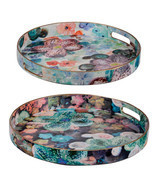 Modern Chic Blue Multi-Color Trays Set Of 2 - 44052 - £44.73 GBP