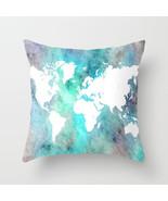 Throw Pillow Cushion case Made in USA Design 62 World Map Aqua Turquoise... - $29.99+