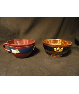 Antique Dark  Blue Copper Luster Bowl and Tea Cup Applied Decorationss - $29.99
