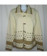 Blue Willi's Denmark Wool Cotton Cardigan Sweater L Gray Cream Fair Isle - $89.05