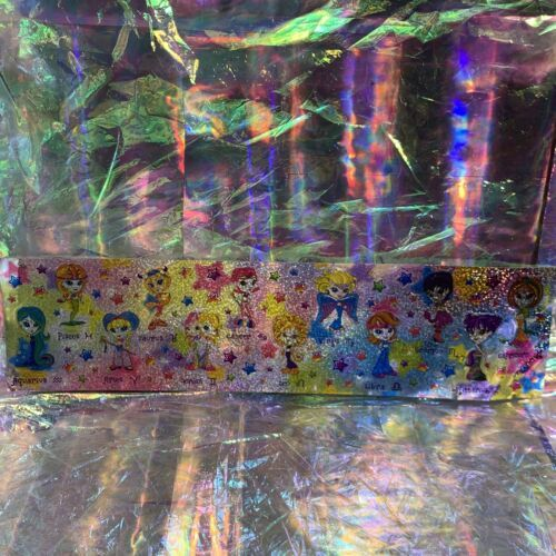 Rare Lisa Frank Long Prism Holographic Sticker Sheet ZODIAC HOROSCOPE ASTROLOGY