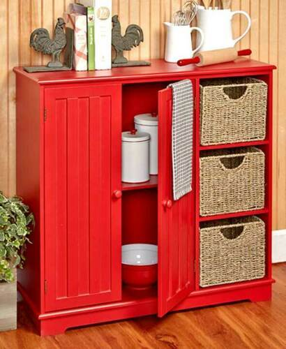Primary image for Beadboard Storage Units and Baskets Wooden Organize Cabinets