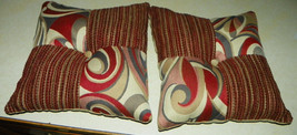 Pair of Red Tan Patchwork Abstract Print Throw Pillows  17 x 17 - $49.95