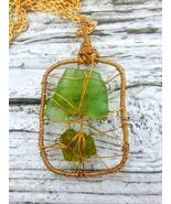 Mermaid's Tangle necklace: Estonian sea glass set in golden wirework pen... - $43.00