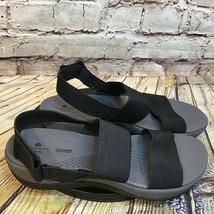 Clarks Cushion Soft Womens Black Elastic Adjustable Strap Open Toe Sandals 9 M - $27.73