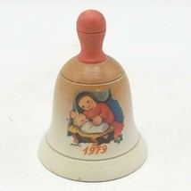 Vintage Italy Anri Schmid Wood Christmas Bell Ornament 1979 Madonna Jesus - $4.94
