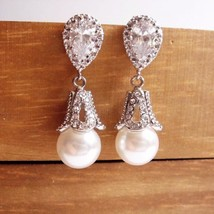 Ornate Sterling Silver Pearl Earrings - $33.00