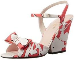 Women's Shoes Kate Spade IMARI Ankle Strap Sandals Bow Satin Floral Geranium - $197.99