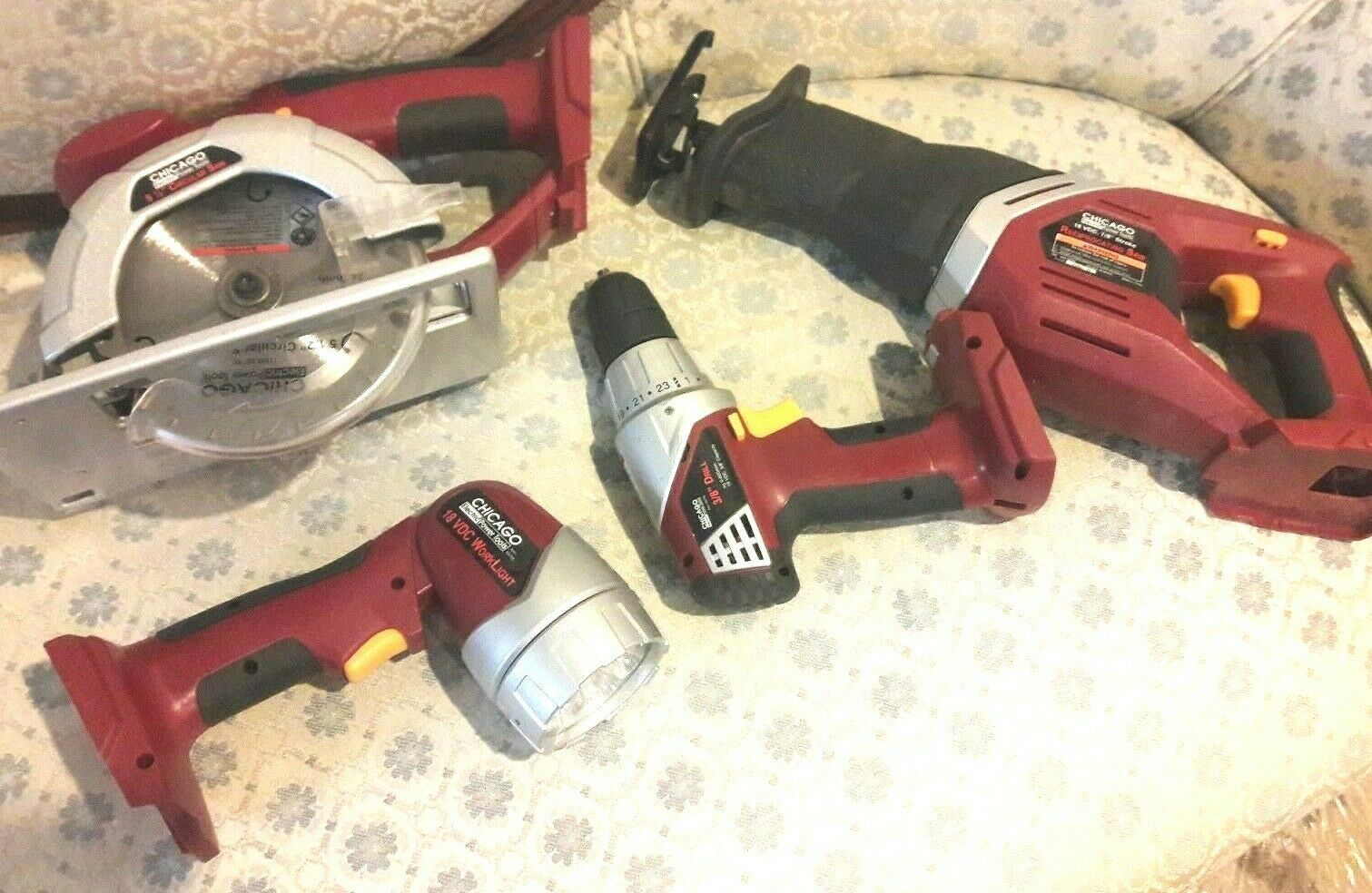 Chicago Electric 18V Cordless Combo Set (drill,Circular & Reciprocating Saw, Fle - $85.00