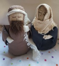 "9"" hand made Folk style Mary & Joseph fabric primitive Nativity Christma... - $33.65"