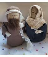 "9"" hand made Folk style Mary & Joseph fabric primitive Nativity Christma... - $33.65"