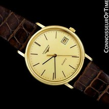 LONGINESMens Classic Vintage 18K Gold Plated & SS Dress Watch - Mint with Warra - $681.10