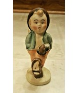 Hummel-Like Boy Figurine Collectible Boy Coming from Market w/Umbrella &... - $12.00