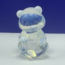 Fenton glass teddy bear figurine birthday statue sculpture Frosted ears ... - $62.68