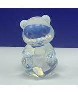 Fenton glass teddy bear figurine birthday statue sculpture Frosted ears ... - $62.68