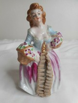 Vintage Ceramic Busty Lady Figurine w/ lace dress and Flowers Japan - $19.79