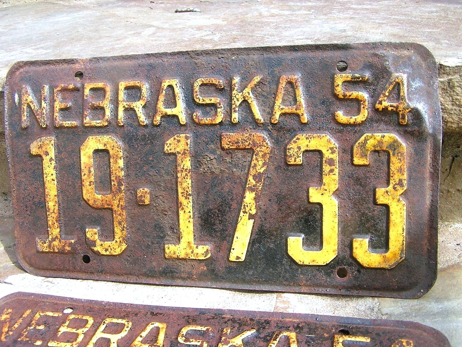 Matched Pair 1954 Nebraska License Plates bz