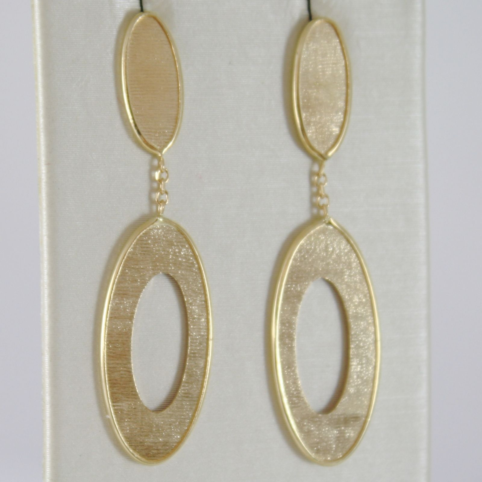 YELLOW GOLD EARRINGS 750 18K, HANGING, DOUBLE OVAL STRIPED, LENGTH 4 CM