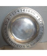 "Vintage Pewter Wilton Armetel  Alphabet & Numbers Plate Bowl 9"" USA - $19.00"