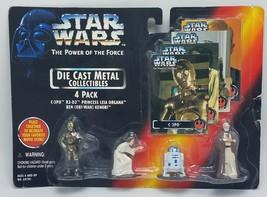 NEW 1995 Kenner Star Wars POTF Diecast Metal Figure 4-Pack C-3PO R2-D2 Leia - $17.26