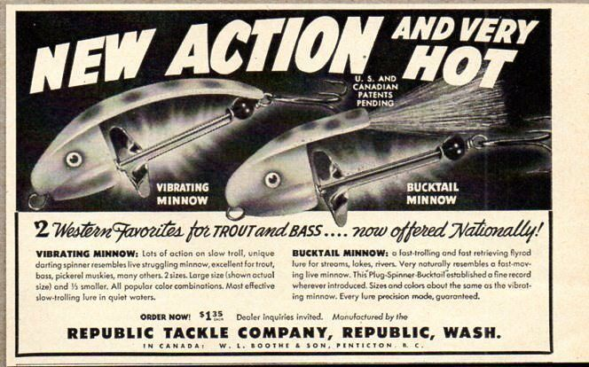 Primary image for 1951 Print Ad Bucktail & Vibrating Minnow Fishing Lures Republic Tackle WA