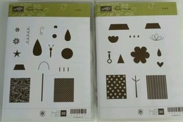 Stampin Up Playful Pieces Clear Mounted Stamp Set Retired Flower Tree Ho... - $12.59