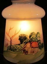 Antique Pendant Chandelier Lamp Shade Painted w/ Country Scene, Blue Bac... - £17.09 GBP