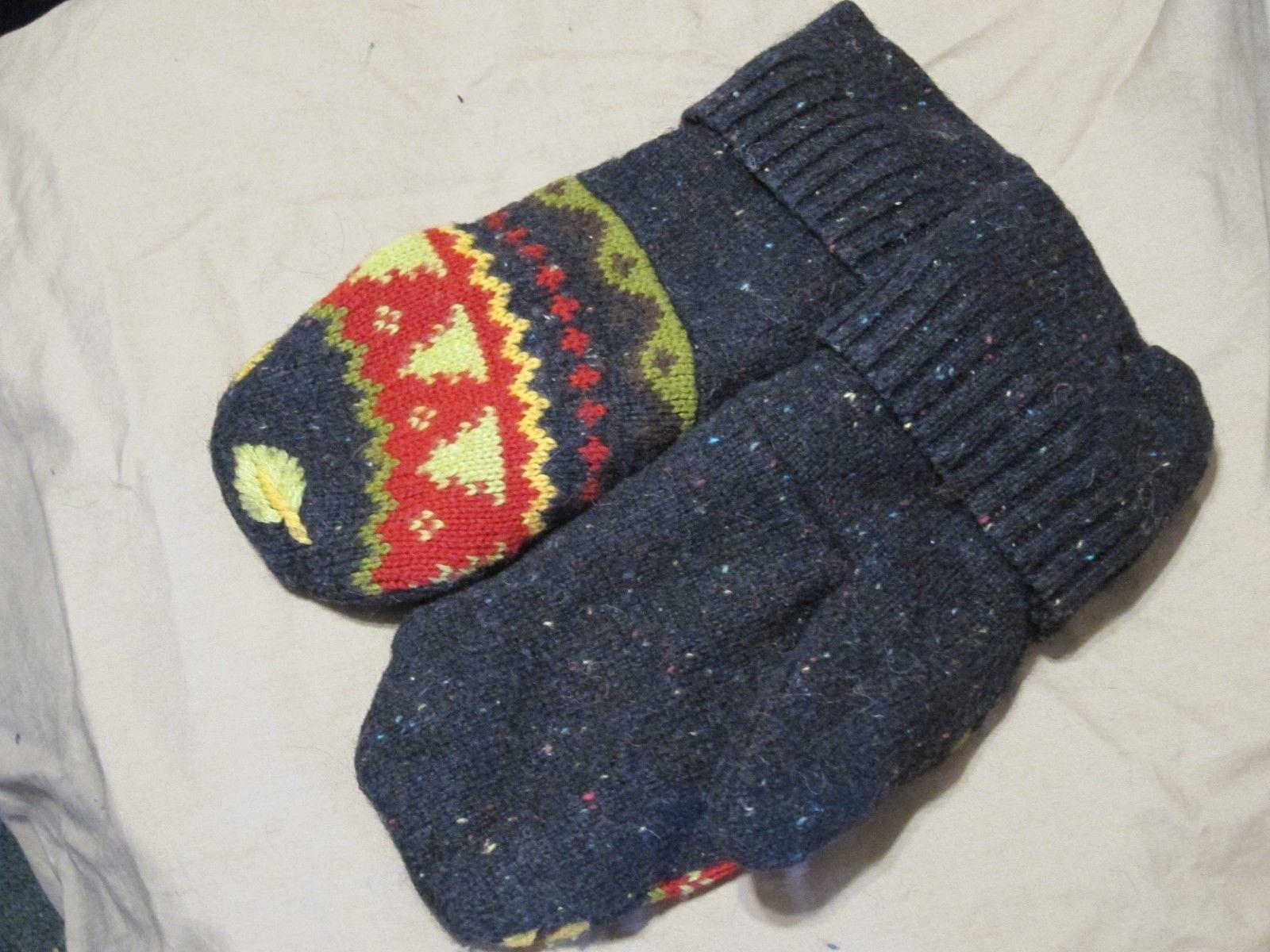 Handmade Recycled Wool Fleece Lined Mittens Black w Trees Ladies/Teens Size M/L