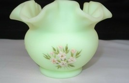 Vintage Fenton Art Glass Hand Painted Custard Rose Bowl Vase - $32.00