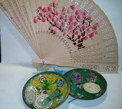 ANTIQUE SMALL CHINESE ASIAN DISHES GEMSTONE PARTS JEWELRY LOT AMETHYST FAN - $150.00