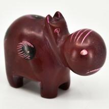 Crafts Caravan Soapstone Red Hippopotamus Hippo Figurine Made Kenya image 1