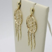 18K YELLOW GOLD DREAMCATCHER PENDANT EARRINGS, FEATHER, MADE IN ITALY, 32 MM image 2