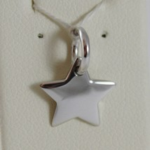 18K WHITE GOLD ENGRAVABLE STAR CHARM PENDANT 11 MM FLAT SMOOTH MADE IN ITALY image 1