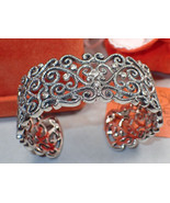 Attitude by Renee Sterling Silver Filigree Wide Cuff Bracelet -Never wor... - $186.99