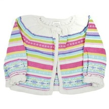 Gymboree Girls Sweater 6/12M Fair Isle Striped Cardigan White Pink Purple Blue - $9.99