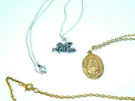 Vtg Religious Pendant Necklace lot of 2 God Rules Christian Catholic - $12.86
