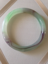Vintage Glass Pearlized Fused Green Purple And White Fashion Bangle - $30.00