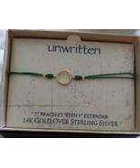 Unwritten 14K Gold over Sterling Silver Circle Bracelet Green Rope Frien... - $16.65