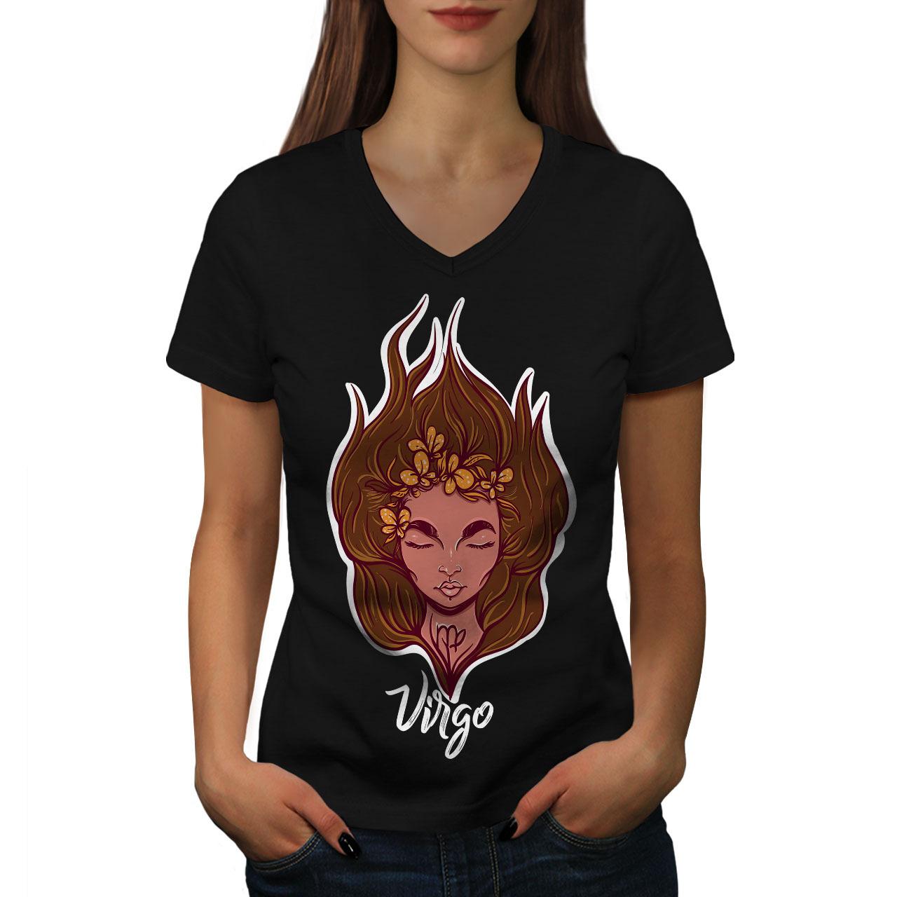 Virgo Shirt Zodiac Sign Women V-Neck T-shirt