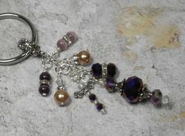 Dragonfly Crystal Cluster Beaded Handmade Keychain Split Key Ring Purple... - $14.83